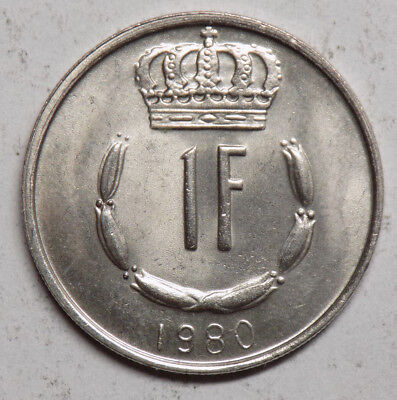 Luxembourg 1980 1 Franc Coin - Brilliant Uncirculated