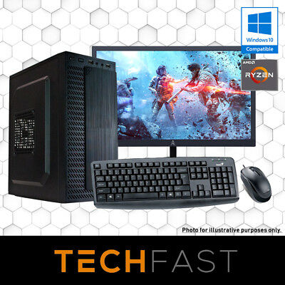 "Ryzen 3 2200G 120GB SSD 8GB DDR4 27"" Computer Desktop PC Bundle"