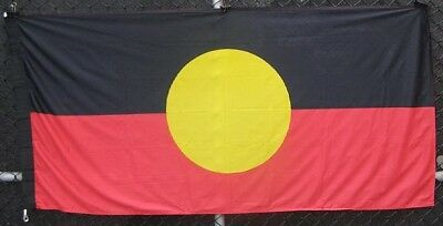 Aboriginal flag hot knife edge finish with loops for hanging