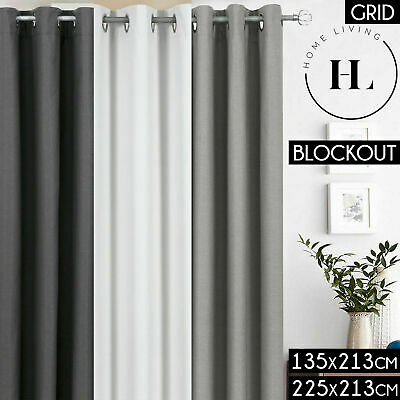 GRID PATTERNED 100% BLOCKOUT Curtains Metal Eyelet Blackout 3 PASS Curtain 213cm