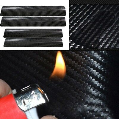 4Pcs Carbon Fiber Black Car Door Sill Scuff Plate Cover Anti Scratch Sticker BE