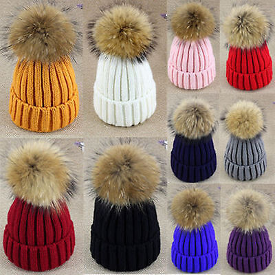 Women,Braided Crochet Wool Knit Beanie Beret Ski Ball Cap,Baggy Winter Warm Hat#