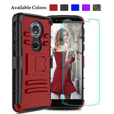 For Motorola Moto G6 Play Hybrid Phone Case With Kickstand Clip+Screen Protector
