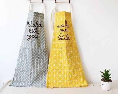 Pure Cotton Kitchen Apron Printed Unisex Cooking Aprons with Pocket Halterneck N