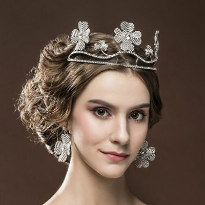 Vintage Big Flowers Crown Wedding Bridal Tiara Hair Accessories + Earrings Set