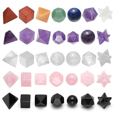 Platonic Solids Geometry Set 7 Chakra Gem Amethyst Clear Quartz Healing Decor