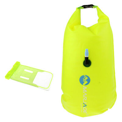 Safety Open Water Swim Buoy Inflatable Dry Bag + Waterproof Cell Phone Case