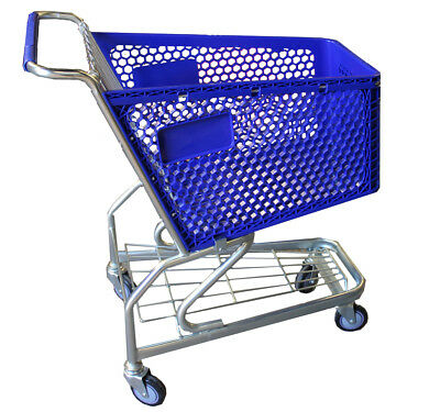 Set of 4 x USA Style Supermarket Shopping Trolleys Cart Wire 100L NEW Warehouse