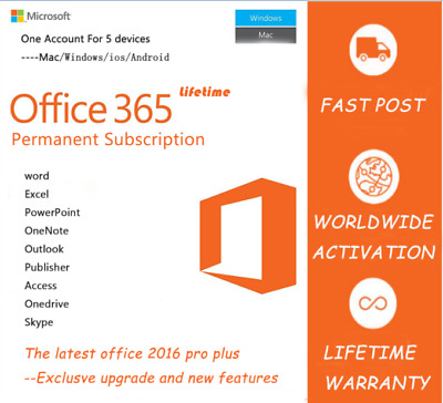 MS Office 365 Account With Office 2016 Pro Apps For 5 Devices Lifetime Subscript