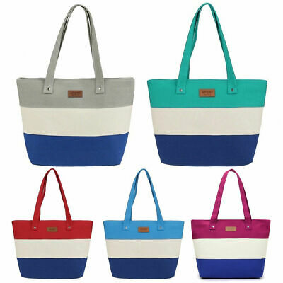 Women Canvas Stripe Handbag Summer Beach Shoulder Bag Messenger Tote Handbag Lot