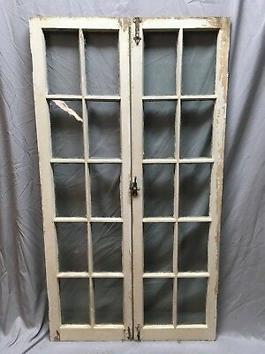 Pair Antique 10 Lite Casement Bookcase Cabinet Door Windows Vtg Old 62x34 197-18