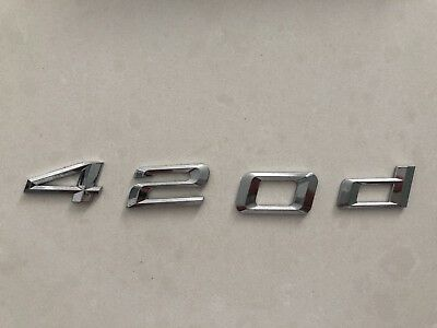 "GENUINE BMW 4 series ""420d"" Chrome Trunk Emblem Badge Decal Letters"