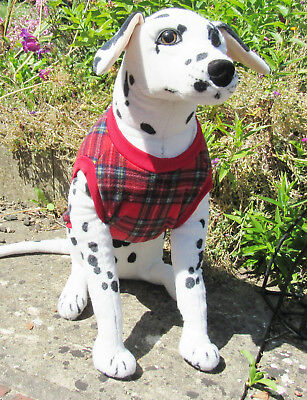 Fleece Sleeveless Dog Coat/jacket/Waistcoat/vest. Fully Elasticated. Red Tartan