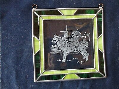 Belgian Malinois. Hand engraved original design Panel by Ingrid Jonsson