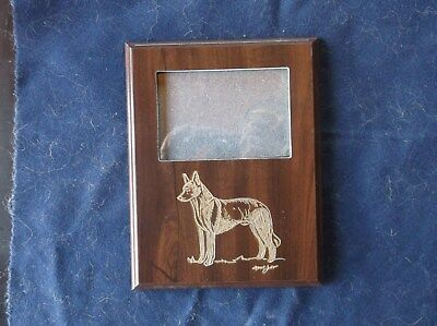 Belgian Malinois. Hand engraved Wood  Wall Photo Frame by Ingrid Jonsson