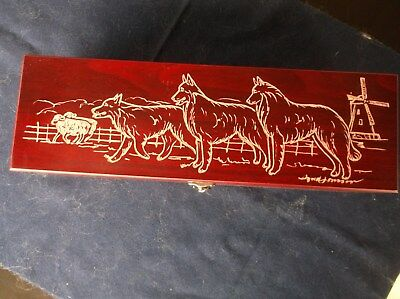 Belgian Sheepdog- Beautifully hand engraved Wine Box  by Ingrid Jonsson