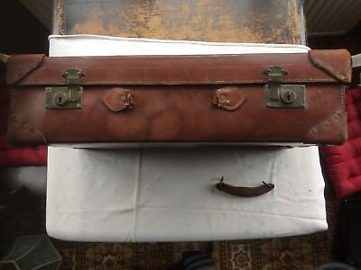 Vintage Brown Antique Leather Trunk /Luggage Suitcase Travel case Storage.