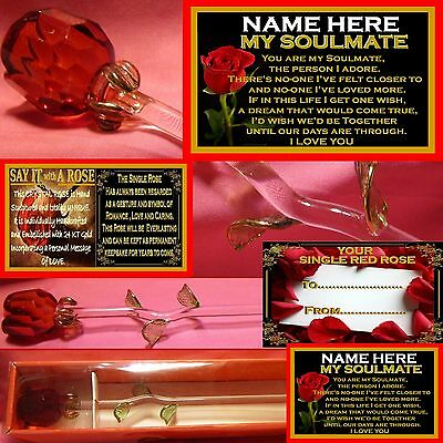 Personalised My Soulmate Verse Red Rose Glass Valentines Day Gift Ornament Card