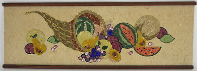 Gravel Art Pebble Mosaic Cornucopia Thanksgiving Harvest Retro MCM Wall Hanging