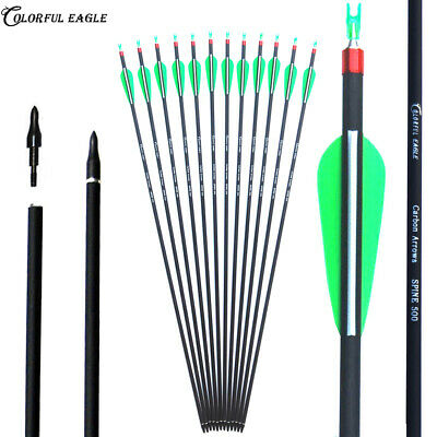"""28""""/30""""/31"""" Carbon Arrows Hunting Spine 500 for Recurve/Compound Bows Archery"""