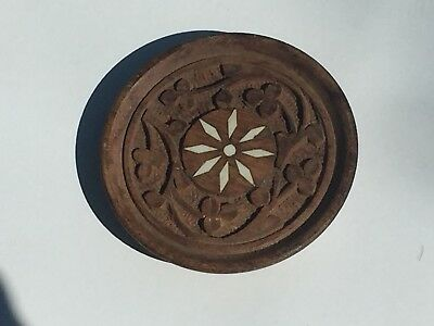 Vintage Wooden Carved Coasters. Inlay detail. Set of 4.