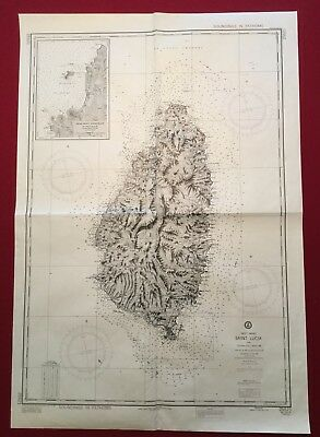 Defense Mapping Agency Nautical Chart St. Lucia West Indies Topography Map