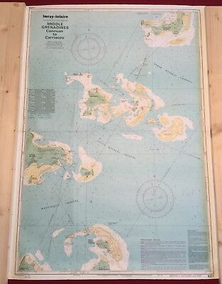 """Imray-lolaire 25""""x35"""" Nautical Chart Middle Grenadines Canouan to Carriacaou"""