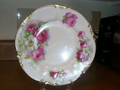 """Victorian 10"""" ROV. SXE ES Germany Gold & Roses Plate - Wonderful Condition"""
