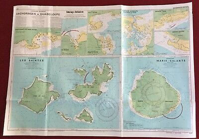 """Imray-lolaire 25""""x35"""" Nautical Chart Anchorages in Guadeloupe Les Saintes"""
