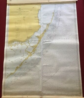 "1970 US Dept of Commerce 46""x35"" Nautical Chart Florida Alligator Reef"