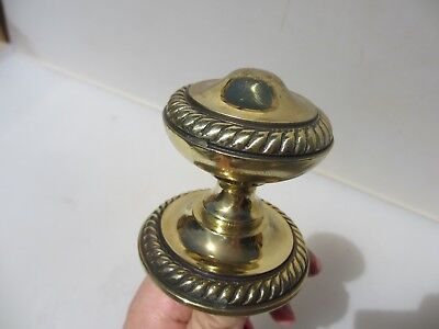 Vintage Brass Centre Door Knob Handle Pull Architectural Antique Old Plate Rope