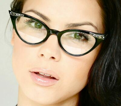 dda44885a0 50 s Retro Vintage Sexy Cat Eye Black Clear Gradient Frame Eyeglasses
