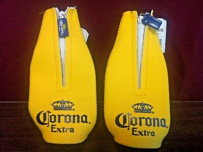 Corona Extra Yellow Zipper Bottle Koozie 2 Pack - New - Rare - Hard To Find NOS