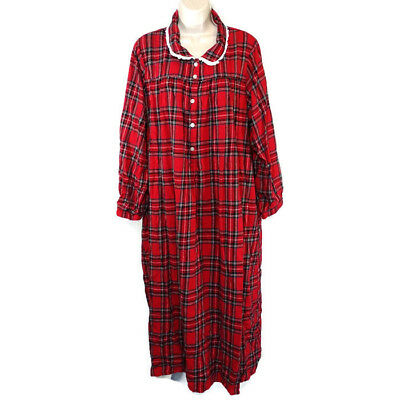 Lanz Of Salzburg Plaid Flannel Nightgown Gown Women Size 1x Red