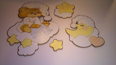 Vintage Teddy Beddy Bear Wall Hangings Baby Nursery Decor Lot Bedroom Toddler