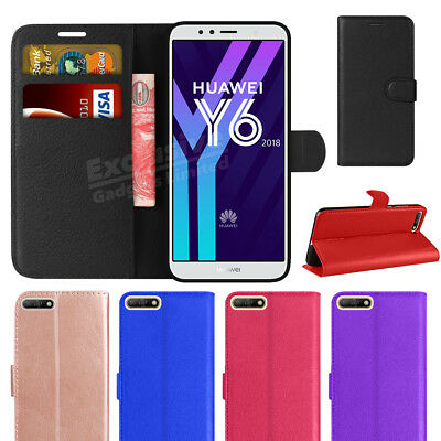 For Huawei Y6 2018 2019 Phone Case Luxury Leather Magntic Flip Wallet Stand Covr