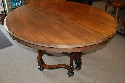 Vintage Antique Round Solid Wood Table with Leaves Made in Marietta Ohio