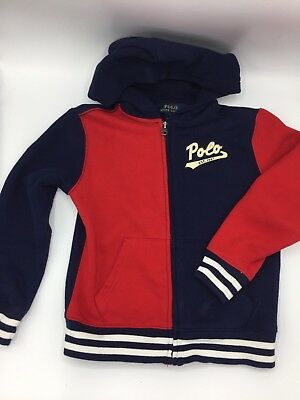 Polo Ralph Lauren Fleece Zip Up Hoodie Navy Red Toddler Child Size