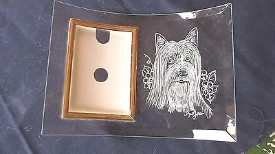 SILKY TERRIER. Beautifully hand engraved Free Standing  Photo Frame by Ingrid