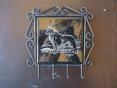 Belgian Sheepdog- Hand engraved Leash Rack by Ingrid Jonsson.