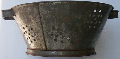 "Vintage Tin Patterned Holed 9 1/4"" Colander with a Foot or Base"