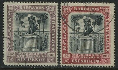 Barbados 1906 Lord Nelson 6d & 1/ used
