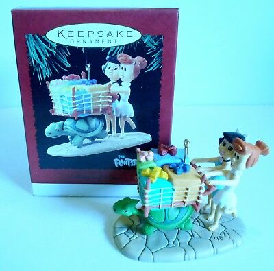 "1995 Hallmark Keepsake Ornament ""Betty and Wilma"" Flintstones Shopping MIB"