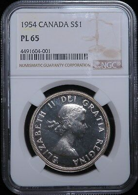 1954 Canada Dollar Silver $1 NGC PL 65 Proof Like