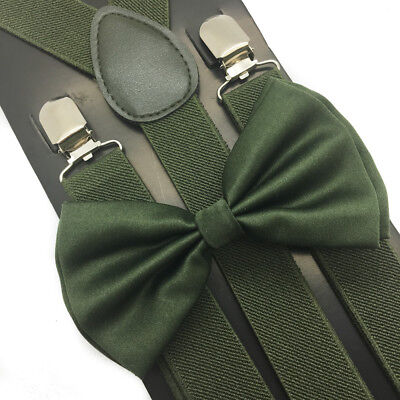 Hunter Green Suspender + Clip on Bow-Tie Matching Set for Adults Men Women