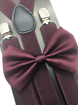 Burgundy Suspender + Clip on Bow-Tie Matching Set for Adults Men Women