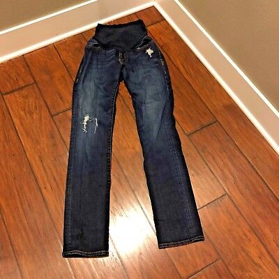 A Pea in the Pod straight leg maternity jeans, Dark Wash, Distressed sz. 30