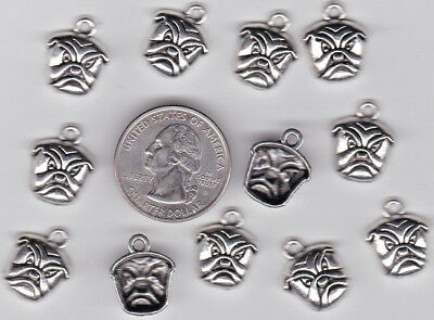 You Get 20 Metal Silver Tone Bulldog Head  Dog Charms,   A 11 -  U.s. Seller.