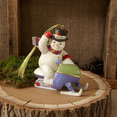Lenox ~ Christmas 2013 Annual Snowman Ornament Snowmobiling NEW ~ NIB