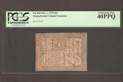 Oct. 1, 1773 20s PENNSYLVANIA Colonial Currency - PCGS XF 40 PPQ
